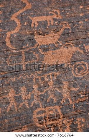 Native American petroglyph on canyon wall - Valley of fire SP