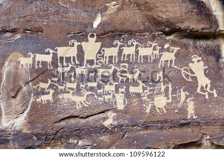 Native American Rock Art Petroglyphs - Great Hunt Panel at Nine Mile Canyon, UT