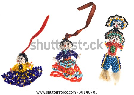 Native American Seminole handmade doll isolated on white