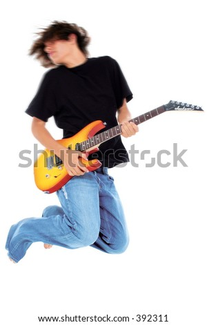 stock photo native american teen boy jumping with electric bass guitar motion blur in head and upper body 392311 Is there anything better than female celebrities nude bodies?