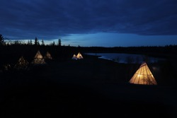 Native American tent, tee-pee (Tipi) evening. Outdoor image