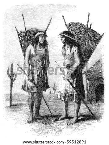 "Native americans from Pimo or Pima tribe. Illustration originally published in Hesse-Wartegg's ""Nord Amerika"", swedish edition published in 1880."