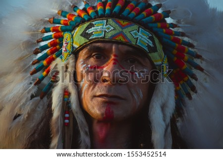 native Americans.portrait of Americans Indian man. Photo stock ©
