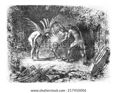 Native Blowing Cigarette Smoke in Oiapoque, Brazil, drawing by Riou from a sketch by Dr. Crevaux, vintage engraved illustration. Le Tour du Monde, Travel Journal, 1880 Photo stock ©