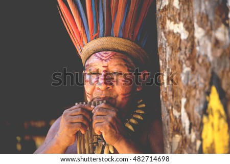 Native Brazilian man at an indigenous tribe in the Amazon