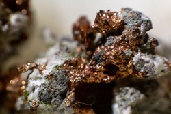 Native copper inserted in a rock