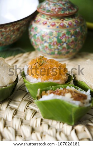 native dessert in banana leaf cup in Thai old style