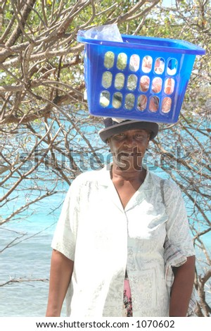 native female produce vendor in the tropics Caribbean Island Bequia St. Vincent and the Grenadines