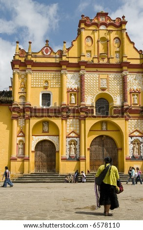 Native Mexican by Colonial Church, Chiapas Mexico - stock photo