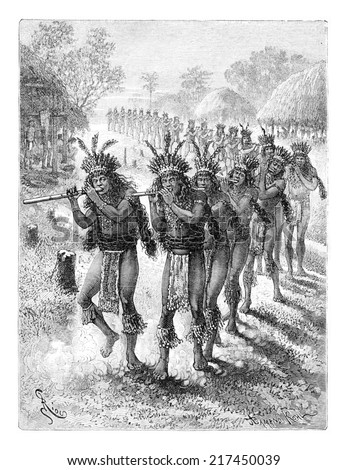 Native Music and Dance in Oiapoque, Brazil, drawing by Riou from a sketch by Dr. Crevaux, vintage engraved illustration. Le Tour du Monde, Travel Journal, 1880 Photo stock ©