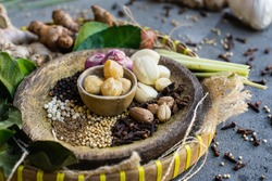 Native spices of Indonesia. Spices such as nutmeg or mace, cloves, pandanus leaves, palm trees, and galangal are native to Indonesia. the secret of the richness of Indonesian cuisine