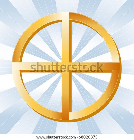 NATIVE SPIRITUALITY SYMBOL. Golden Medicine Wheel, symbol of Native Spirituality, on a sky blue background with rays.