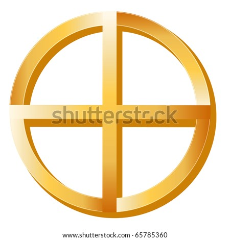 Native Spirituality Symbol.   Golden Medicine Wheel, symbol of Native Spirituality, on a white background.