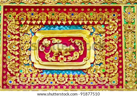 Native Thai style of rat pattern on Buddhist temple