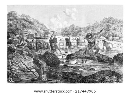 Natives Spearing Fish Trapped in the Rocks in Oiapoque, Brazil, drawing by Riou from a sketch by Dr. Crevaux, vintage engraved illustration. Le Tour du Monde, Travel Journal, 1880 Photo stock ©