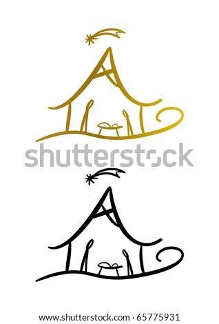 Nativity (christmas) symbol (two color versions included)