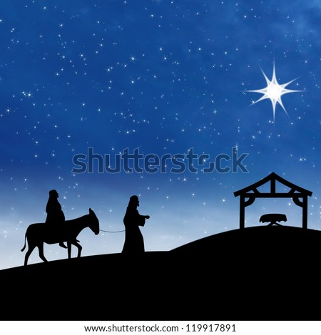 Nativity on the night of Jesus birth showing bright star and Saint Mary and Joseph