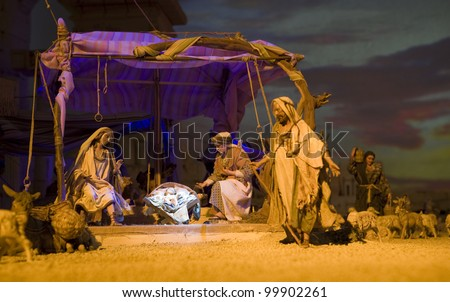 Nativity scene. Extremely detailed model displayed in an Italian church.