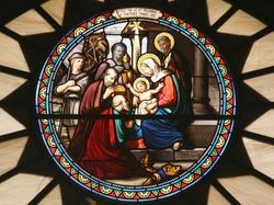 Nativity scene, stained glass, Church of St. Catherine, Bethlehem
