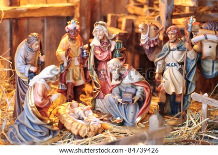 nativity scene; the three Magi at the crèche of the young Jesus Christ