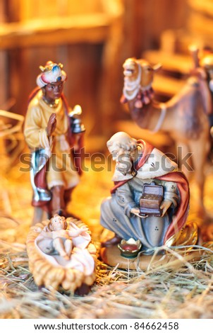 nativity scene; the three Magi at the creche of the young Jesus Christ