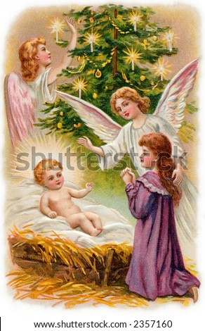 Nativity scene with angels surrounding the Christ child, and a young girl worshipping - a 1907 vintage illustration