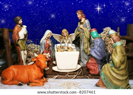 Nativity scene with blue starry sky background