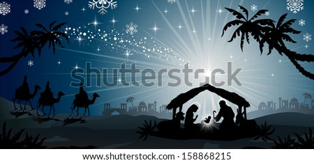 nativity scene with holy family and the three kings of oriental landscape
