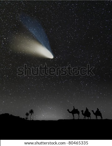 Nativity scene with 3 wise men and the Christmas star or comet. Composition with a photograph of a comet.