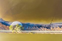 Natural abstract aerial view of a lake