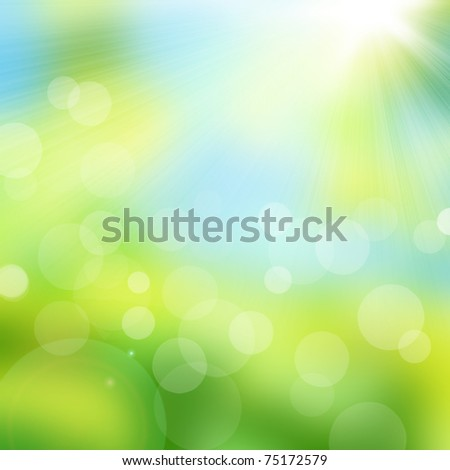 Natural abstract bokeh background with sunlight