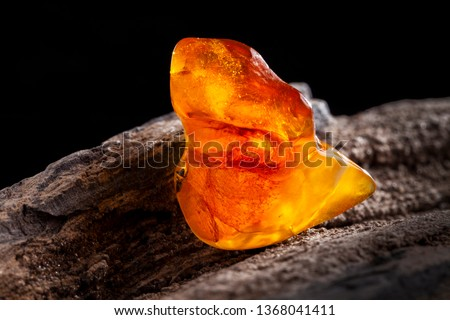 Natural amber. A piece of yellow and red semi transparent natural amber on piece of stoned wood. Сток-фото ©