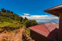 Natural and rural landscape of Sillustani Island in Puno Peru