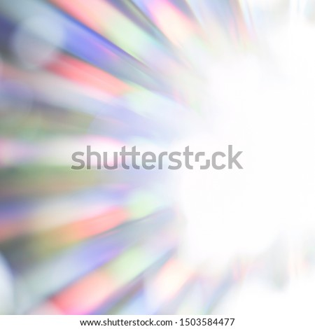 Natural and sunny background with color ranges of red, orange, yellow, green, blue, indigo and violet. Spectrum of the visible light with colorful beams of light. Copy space in the sparkling sun. Сток-фото ©