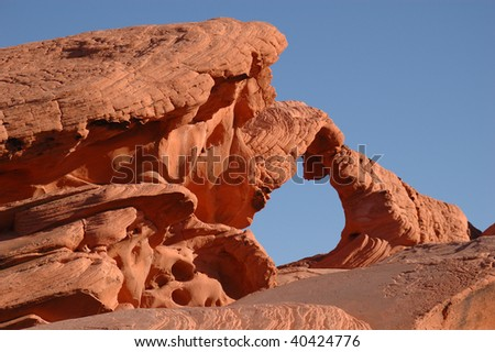 Natural Arch formation in Sandstone rock in the Valley of Fire State Park, North East of Las Vegas, NV