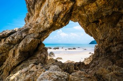Natural arch rock landscape, View of the natural arch Koh Phayam,Thailand.
