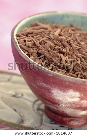 Natural Aromatic Sandalwood, close up, extreme shallow depth of focus.