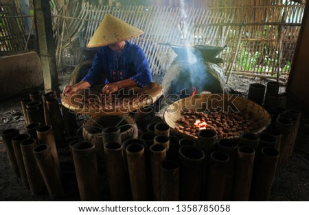 Natural Asian people produces traditional Sweet sugar with handmade, industrial, family factory, noodle producing-image #1358785058