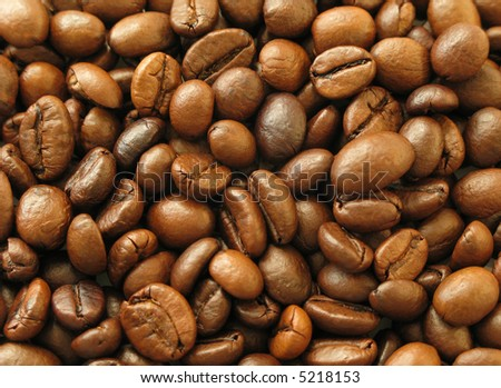 Natural Background: Close up of aromatic coffee beans - stock photo