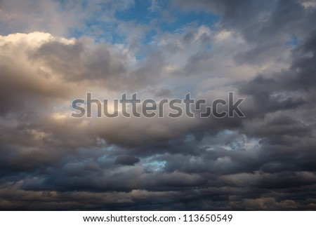 Natural background: dark stormy sky