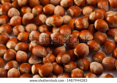 Natural background of unshelled raw hazelnuts. Healthy and nutritious snack