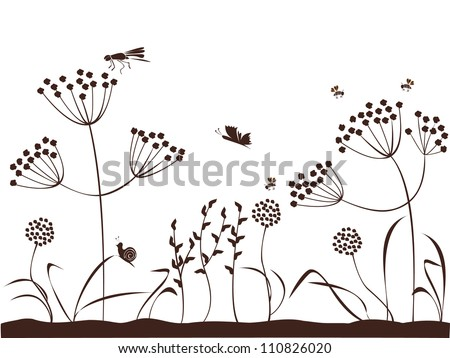 Natural background with plants, flowers, insects