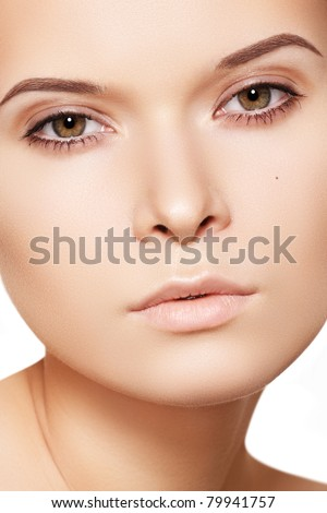 Natural beauty close-up portrait of beautiful young woman model face with clean skin. Wellness, skincare and naturally make-up
