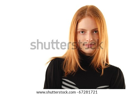 natural beauty - no make-up young woman isolated on white background