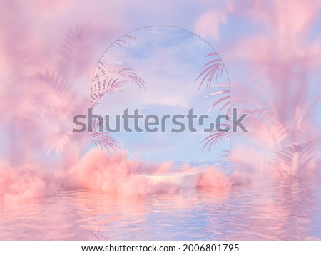 Natural beauty podium backdrop for product display with dreamy cloud and arch frame. Romantic 3d seascape scene.