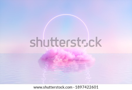 Natural beauty podium backdrop for product display with dreamy cloud and neon light background. Romantic 3d seascape scene.