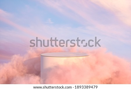 Natural beauty podium backdrop for product display with dreamy sky background. Romantic 3d scene. Foto d'archivio ©
