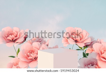Natural beauty podium backdrop for product display with pink rose flower. 3d render.