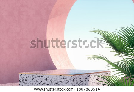 Natural beauty podium backdrop for product display with Terrazzo texture. 3d rendering.
