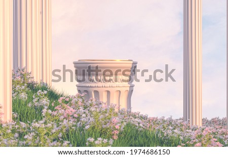 Natural beauty podium backdrop with spring flower field scene. 3d rendering.  Foto stock ©